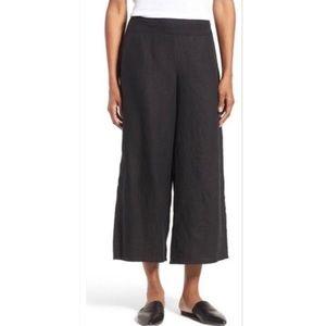 Eileen Fisher black wide leg cropped pants